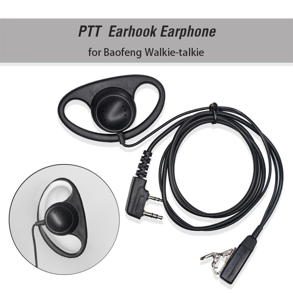 2 Pin D-forma encubierta auricular de gancho micrófono PTT MIC auriculares para Kenwood para $TERM impacto Baofeng BF-888S UV-5R UV-82 Walkie Talkie