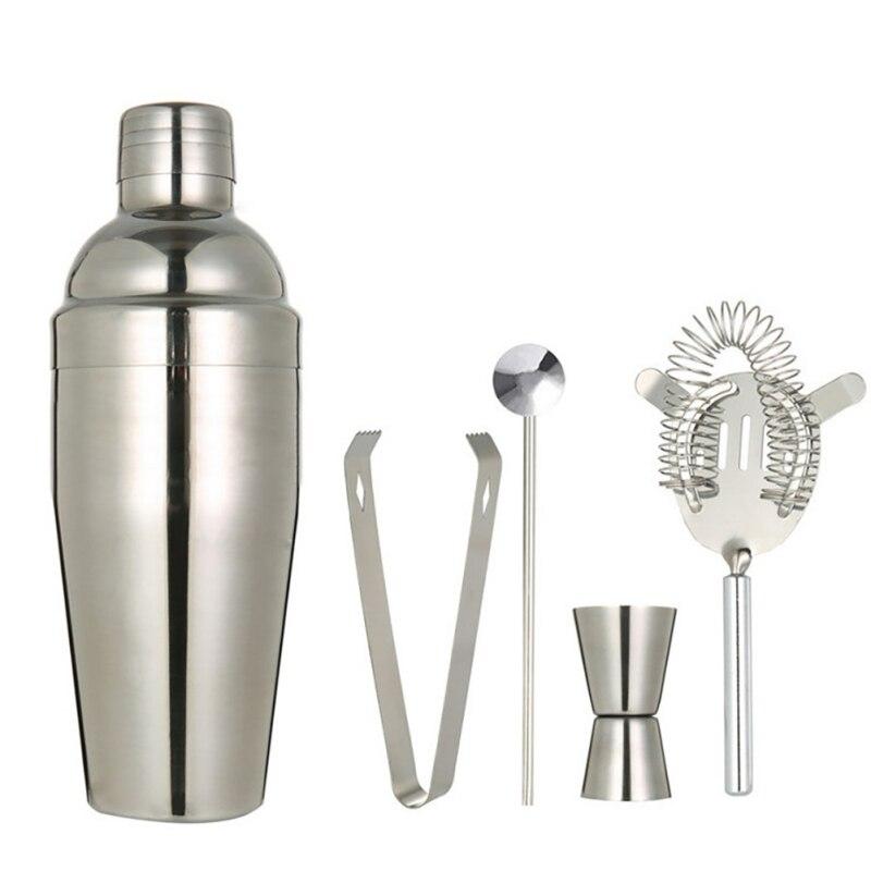 5 pçs/set cocktail shaker misturador de aço inoxidável bebida bartender kit browser martini shaker barras ferramentas filtro conjunto barra jigger