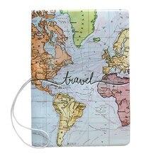Креативный чехол для паспорта с картой мира, сумка-кошелек с буквенным принтом для мужчин и женщин из искусственной кожи, держатель для удостоверения личности, переносные аксессуары для путешествий
