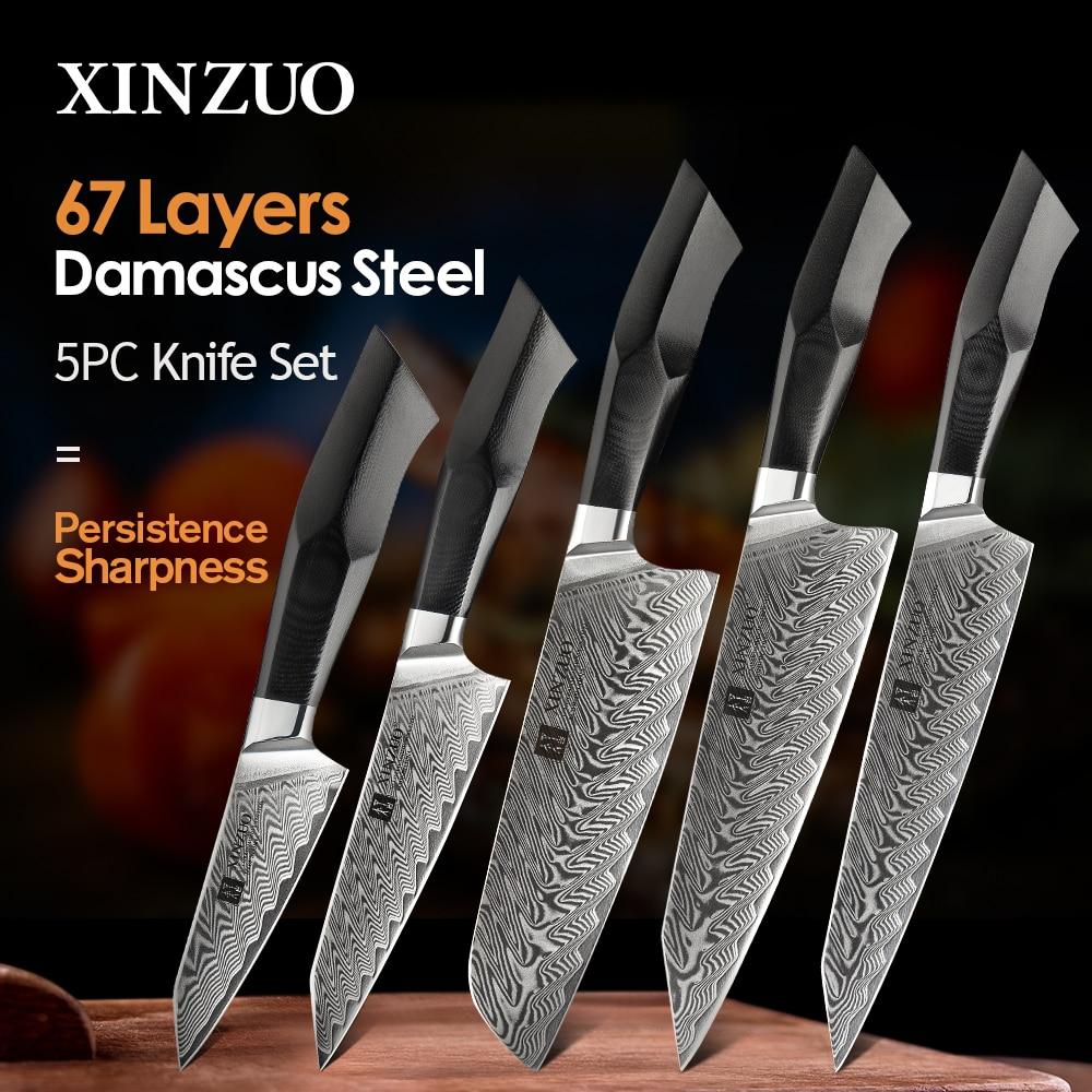 XINZUO 5 قطعة طقم السكاكين المطبخ 67 طبقات دمشق الصلب Santoku الساطور الشيف السكاكين مع مقبض G10 أدوات الشيف المهنية