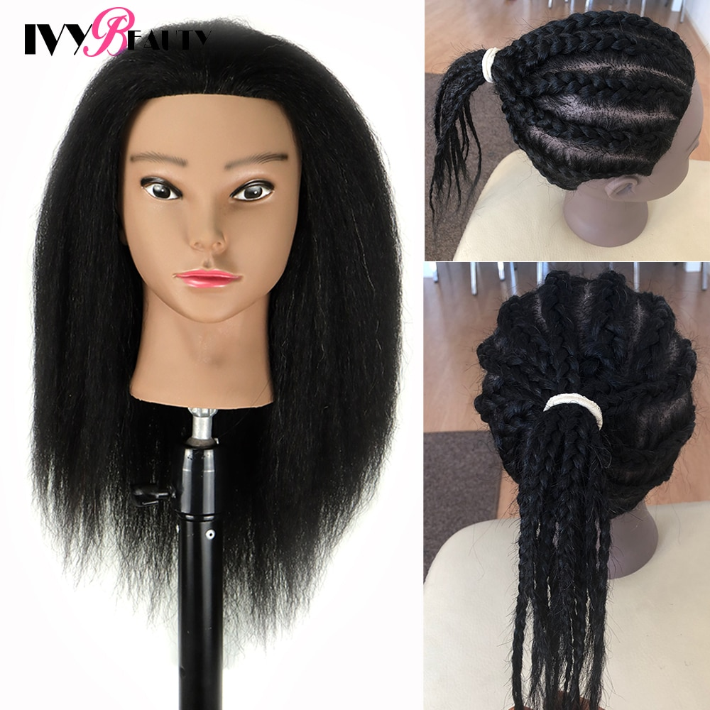 African American Mannequin Head With Real Hair And Adjustable Stand For Braiding Hair Training Hairart Barber Hairdressing Fashi