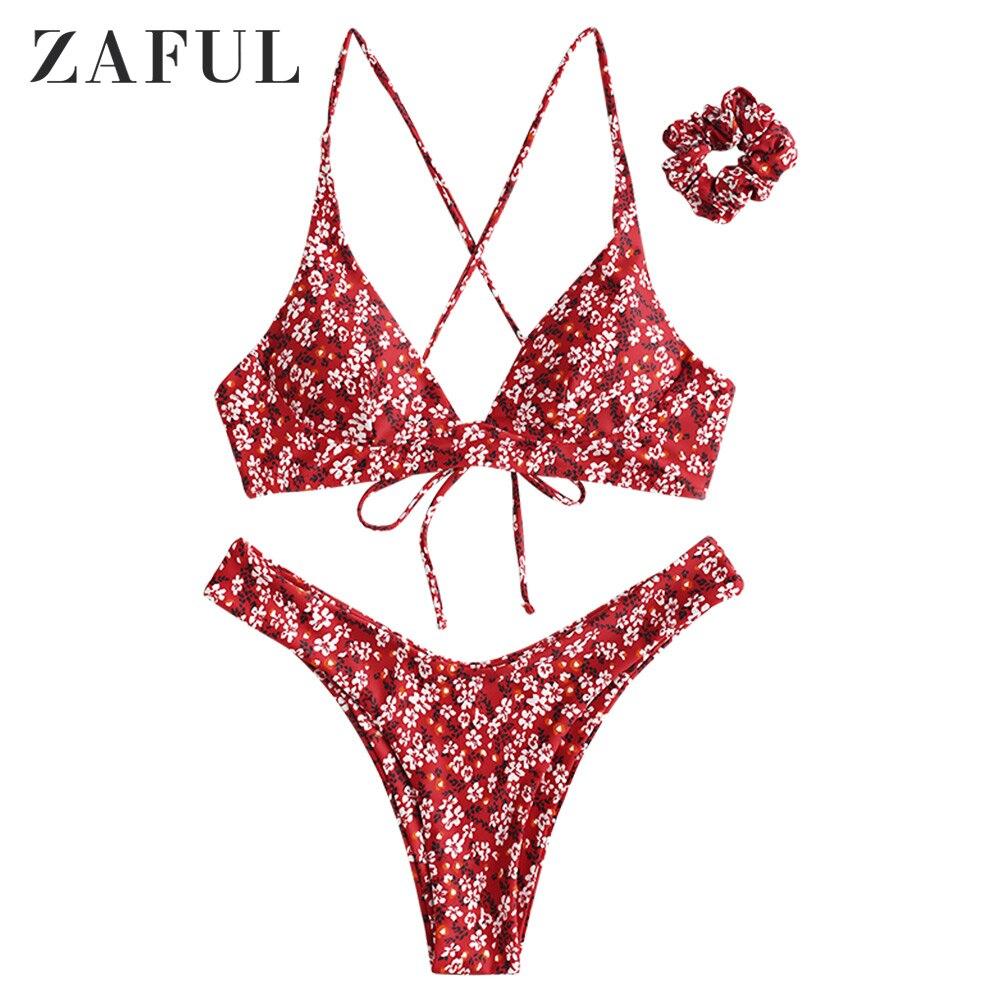 ZAFUL Sexy Swimwear Ditsy Print Criss Cross Swimsuit Bikini Set Female Bathing Suits Padded Women Bohemia Brazilian Biquinis