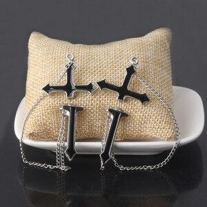 2Pcs Vintage Black Cross Earrings Punk Goth Long Chain Harajuku Streetwear Unisex Stud Earrings For Women Men Korean Jewelry