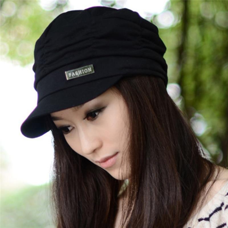 Autumn Winter Korean Women Knited Hat Pleated Newsboy Cap Warm Outdoor Visor Skull Cotton Casual Female Newsboy Caps Winter Hat