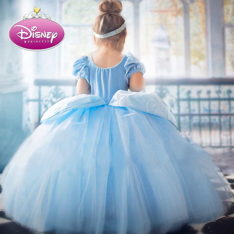 Disney Cinderella Princess Girls Dress Kids Dresses for Christmas Up Costume Party Ball Gown Girl Summer Mesh