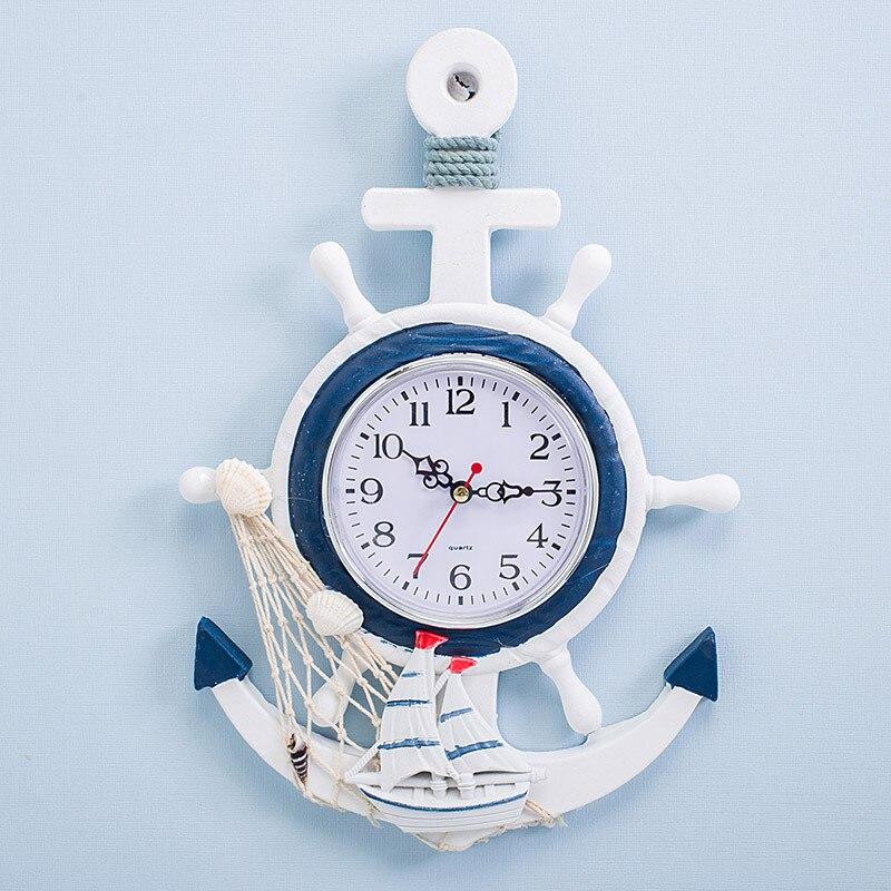 Estilo nórdico azul branco leme helmsman âncora personalidade criativa relógio de parede relógio eletrônico decorativo vela