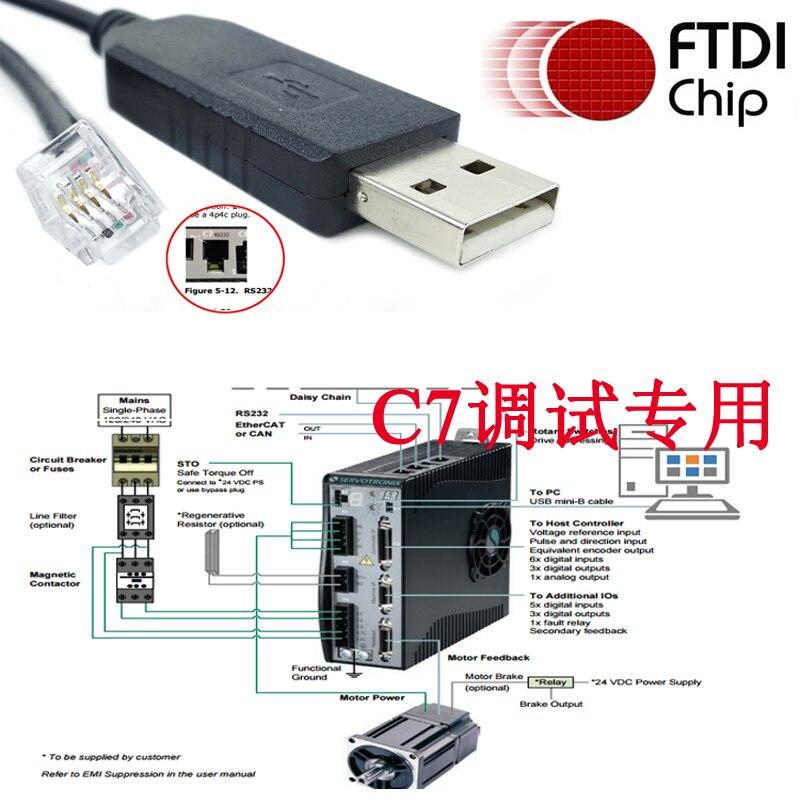 Consola USB RS232 para CDHD C7, configuración ServoStudio Servotronix cdhd c7
