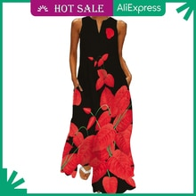 MOVOKAKA Fashion Dress 2021 Beach Casual Sundress Maxi Dresses Summer Plus Size Sleeveles Long Dress