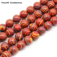synthetic colorful red malachite stone beads round loose spacer beads for jewelry making diy bracelet 15inch 4681012mm