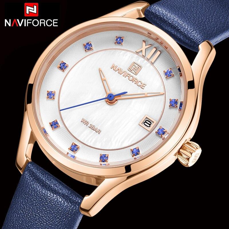 NAVIFORCE relojes de mujer de cuero de marca superior de lujo reloj de cuarzo resistente al agua reloj de pulsera para mujer reloj de moda para chicas relojes femeninos