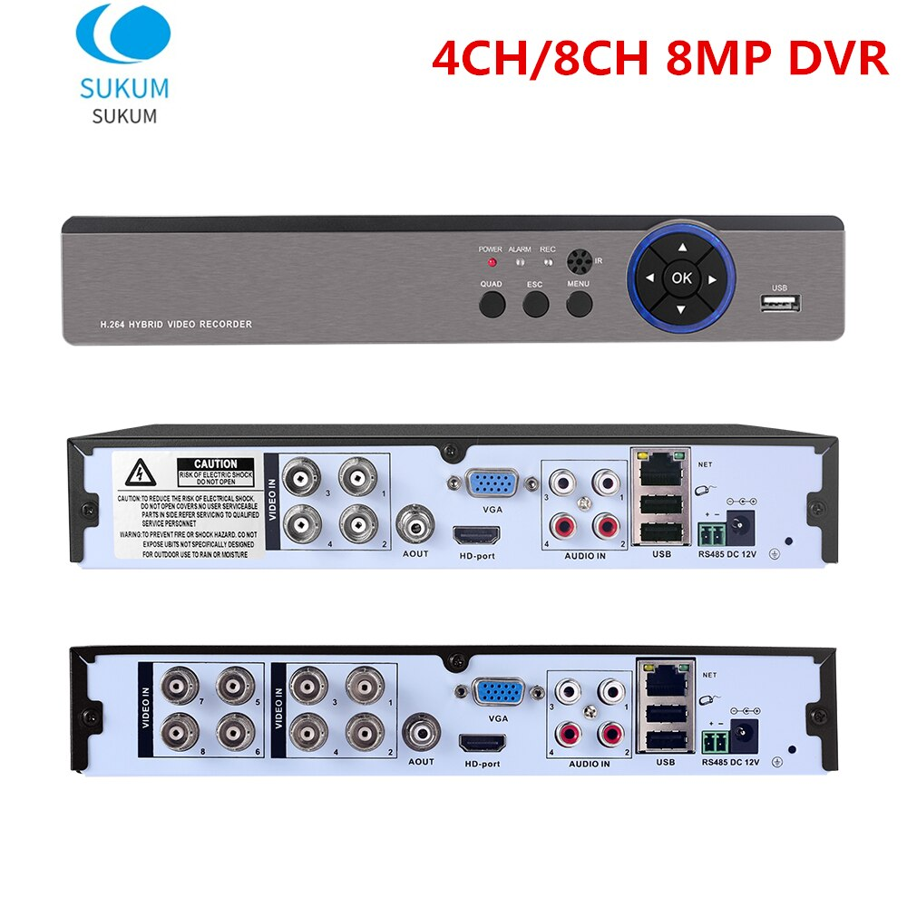 Камера видеонаблюдения Hybird NVR H.265 Xmeye, 8 Мп, 4 канала, 8 Мп, поддержка 5 МП, 8 Мп, AHD