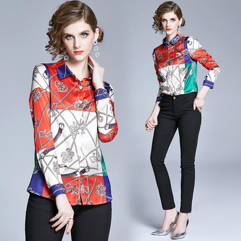 Simgent Print Blouse 2020 Fashion Womens Long Sleeve Turn Down Collar Color Block Ladies Tops Blusas Mujer SG004095