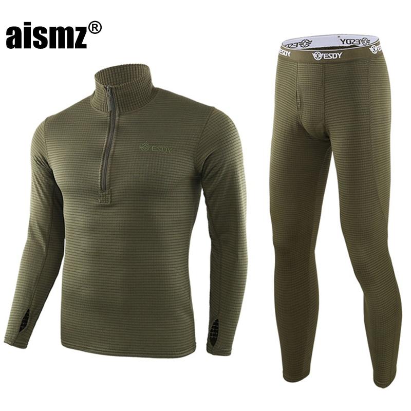 Aismz Men Winter Fleece Tactical Underwear Long Johns Uniforms Military Army Polartec Compression Thermal Warm Underwear Sets
