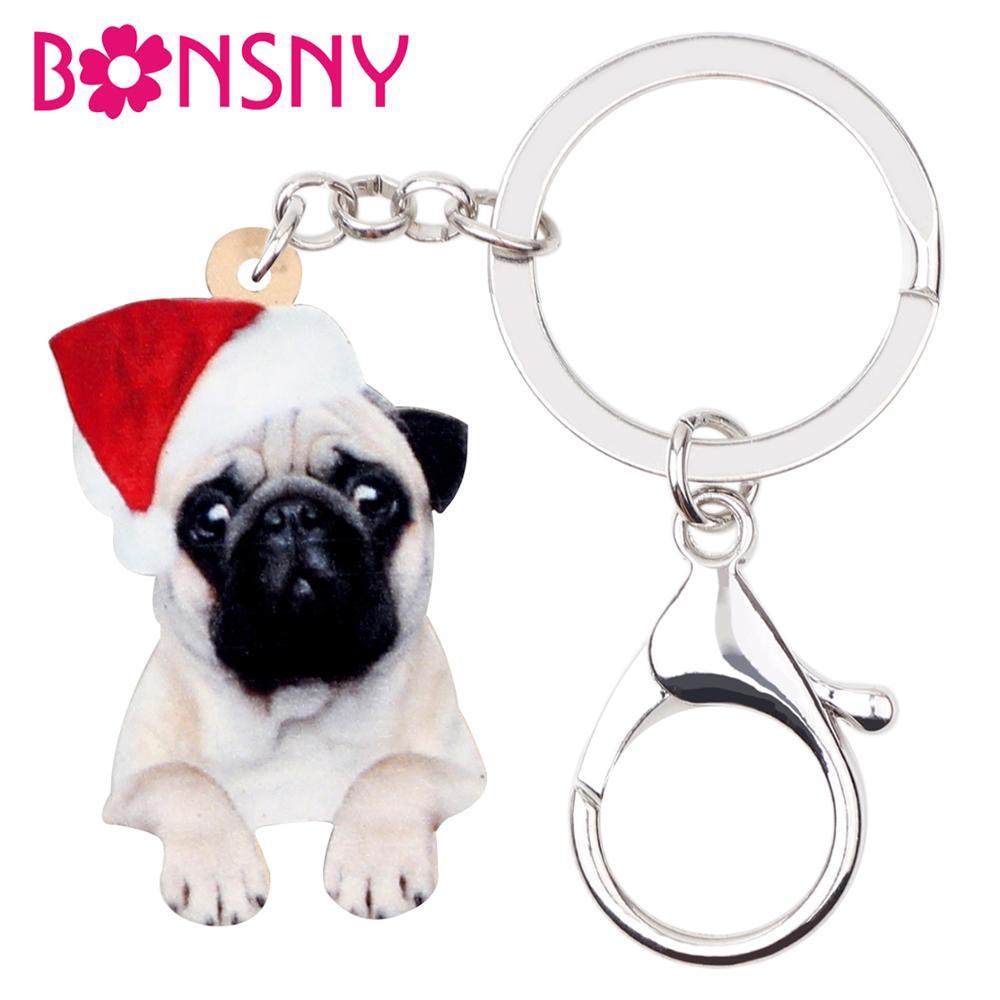 Bonsny Acrílico Natal Bulldog Cão Pug Chaveiros Chaveiro Bolsa Charme Carro Chaveiro Para A Menina Adolescente Mulheres Presente acessório
