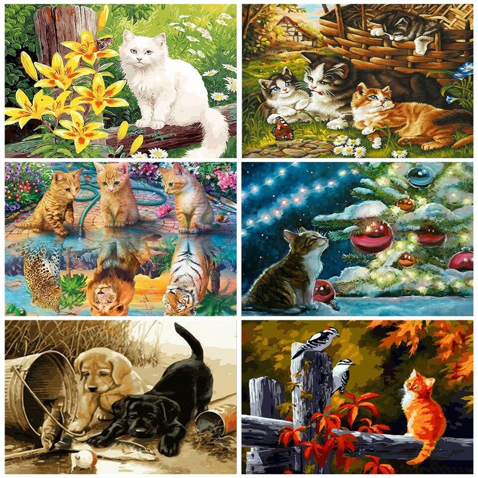 AZQSD DIY adulto colorear por números gato pintura acrílica sobre lienzo decoración pintura al óleo por números conjunto Animal hecho a mano regalo