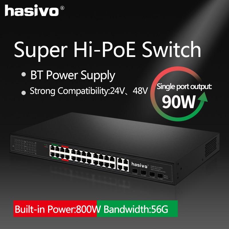Фото - 24 Port Gigabit PoE Switch 4GEx90W 4GExAUTO 16Gx30W Ethernet switch With 4 SFP Combo Hi power PoE Network Switch 24 ports poe switch with 2 gigabit sfp port 400w poe switch 24 port full gigabit switch