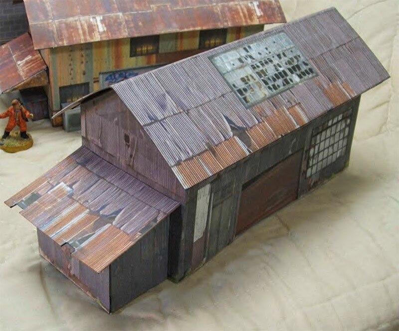 27,2x10,7x8,3 cm 3DPaper, modelo de cobertizo con ranuras, modelo de papel de construcción, mesa de arena, Escena de construcción, modelo Manual DIY con 3 casas