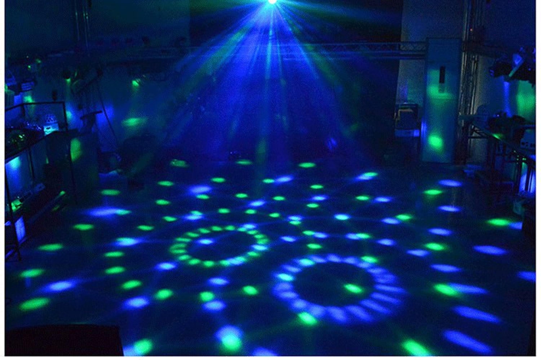 Bola de discoteca giratoria activada por sonido luces estroboscpicas de fiesta 3W RGB LED luces de escenario para Navidad en ca