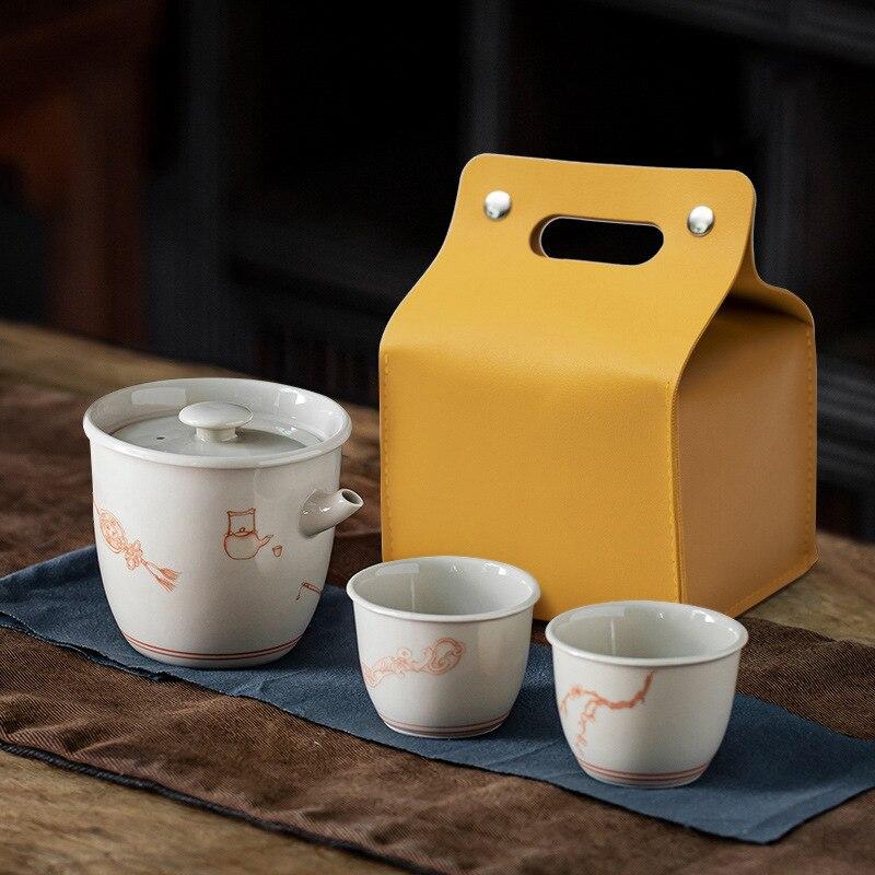 كوب سريع وعاء واحد كوبين اليابانية السيراميك مجموعة كاملة طقم شاي الكونغ فو مجموعة المحمولة السفر الشاي لشخصين