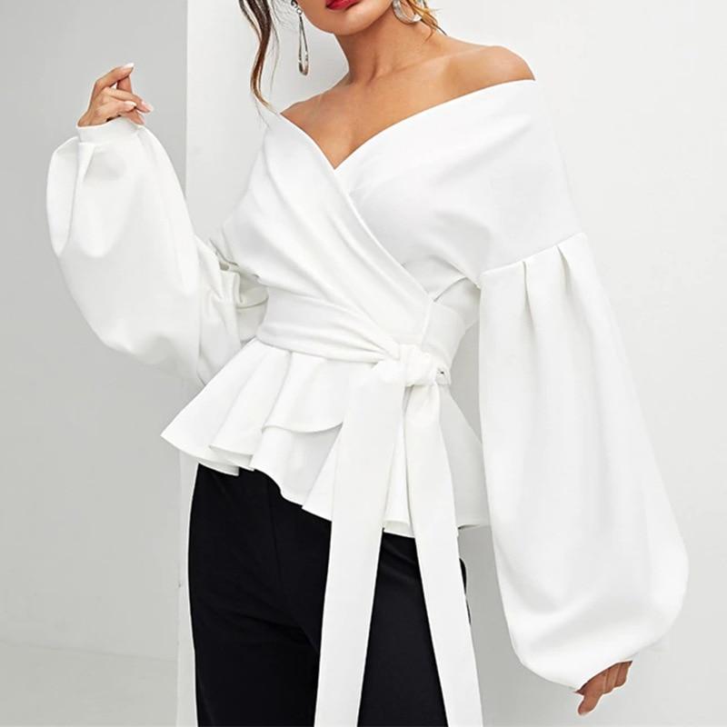 2020 fashion women blouses sexy strapless V-neck women's clothing lantern sleeves women's blouse bow waist shirt women army green v neck half sleeves curved hem blouses
