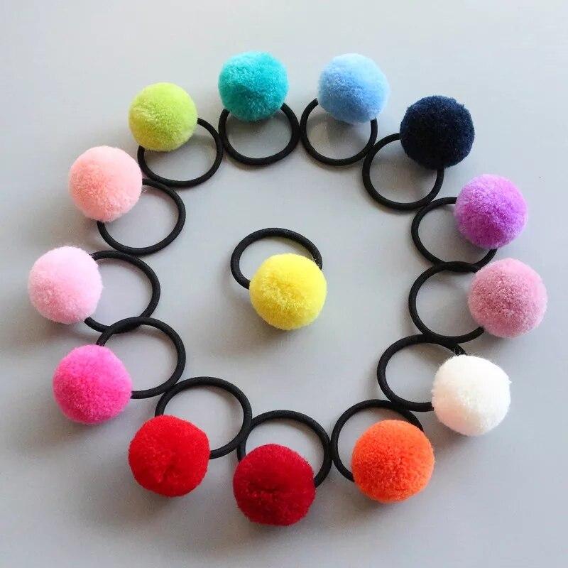 16 Uds 8 pares BOLA DE pompón de colores bandas elásticas para pelo niñas coleta titular niños bandas para el cabello accesorios para el cabello de los niños