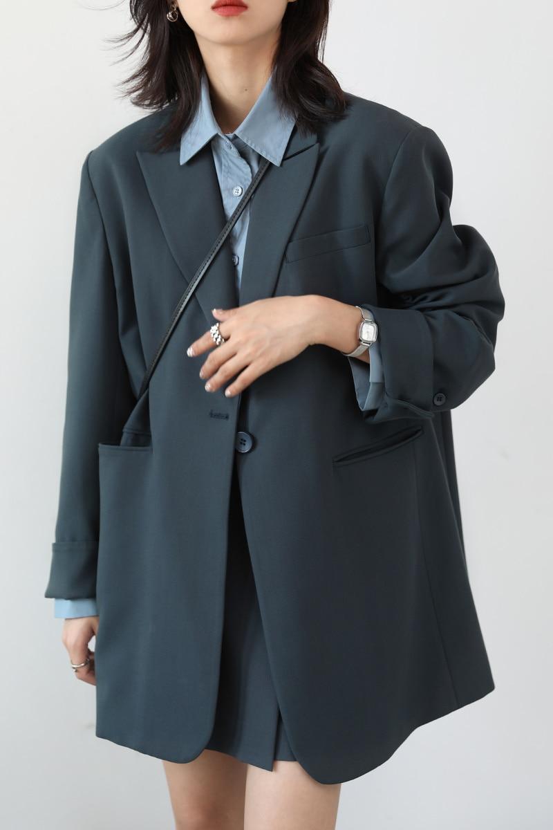 Leisure Suit Wide Shoulder Letter Ribbon One Loose Coat Suit Women's Autumn