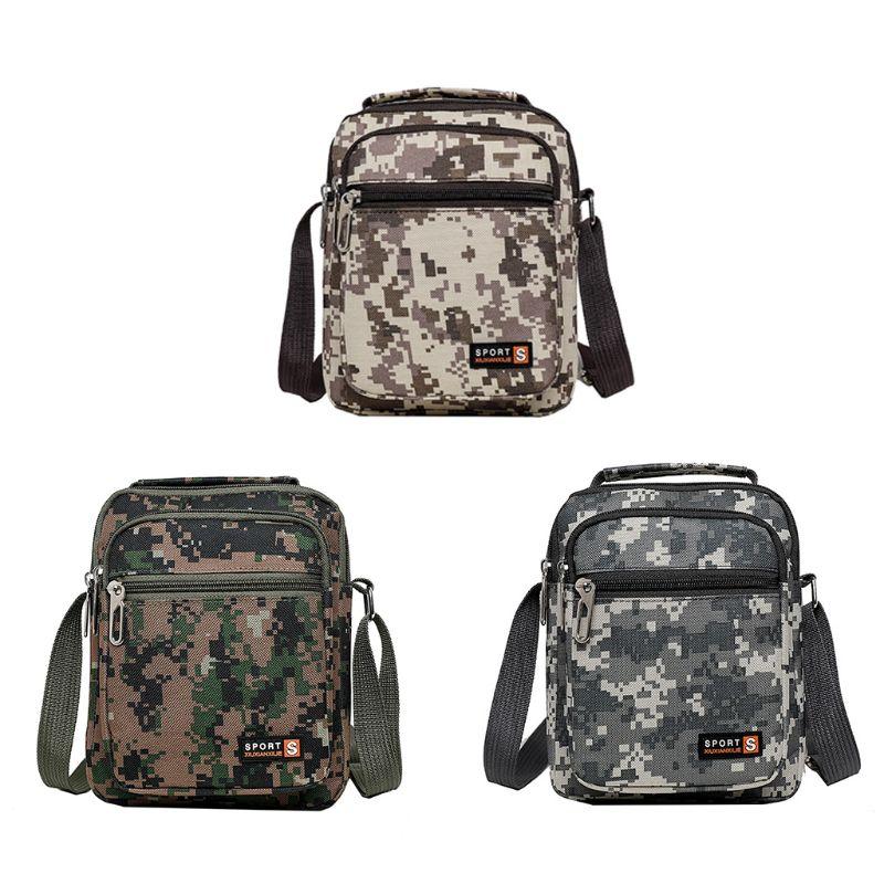 Wild Camouflage Canvas Shoulder Bag Men Purse Crossbody Fashion Coin Purse Multi-layer Handbag Teen Boys Casual Outdoor