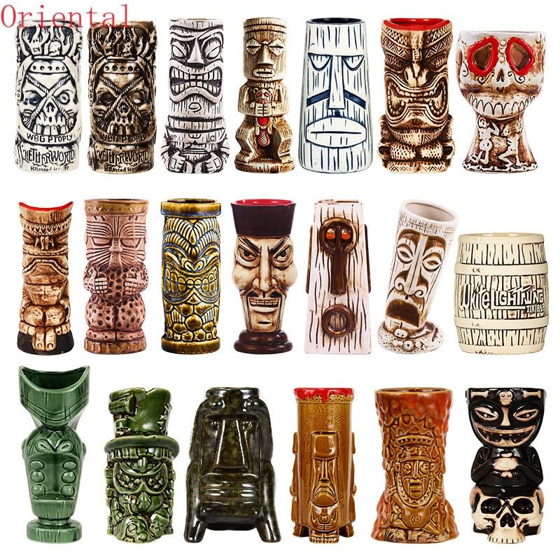 Tazas Tiki con personalidad hawaianas, tazas creativas de cerámica, bar, Zombie, cerámica