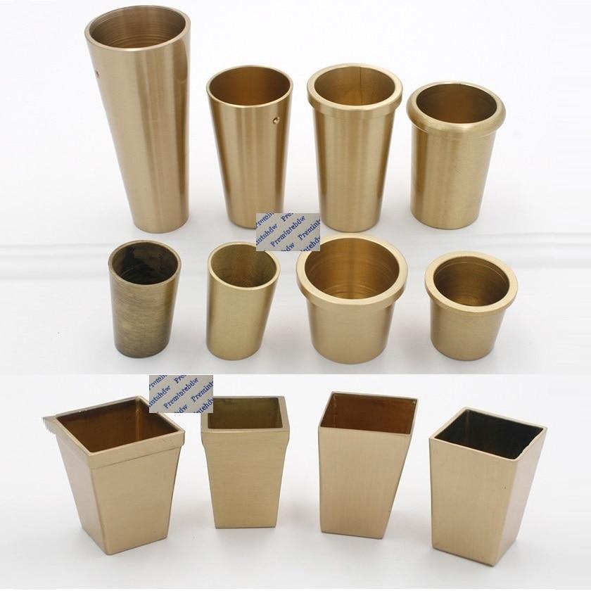 4 قطعة مربع دائري مدبب النحاس تلميح غطاء ل منتصف القرن الحديثة الصينية نمط كرسي الجدول الشاي القهوة بار الساق قدم تفتق