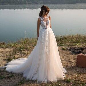 Charming Tulle Sweep Train A-line Bridal Gowns O-neck Sleeveless White Ivory Applique Wedding Dress Vestido de Novia