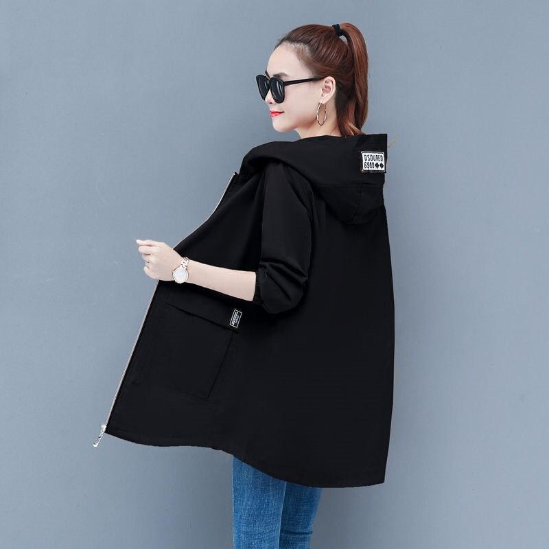 Abrigo rompevientos femenino 6XL, nueva moda, ropa larga con capucha, primavera Otoño, gabardina para mujeres, uniforme de béisbol, abrigo 33