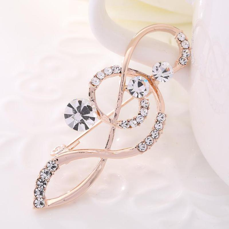 New Korean Fashion Elegant Notes With Rhinestone Brooch Men And Women Suit Brooch Silk Scarf Buckle Sweater Brooch Coat Pin