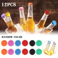 12pcs bottle caps silicone bottle stopper reusable reseal beer wine caps creative colorful saver for home brewing beer
