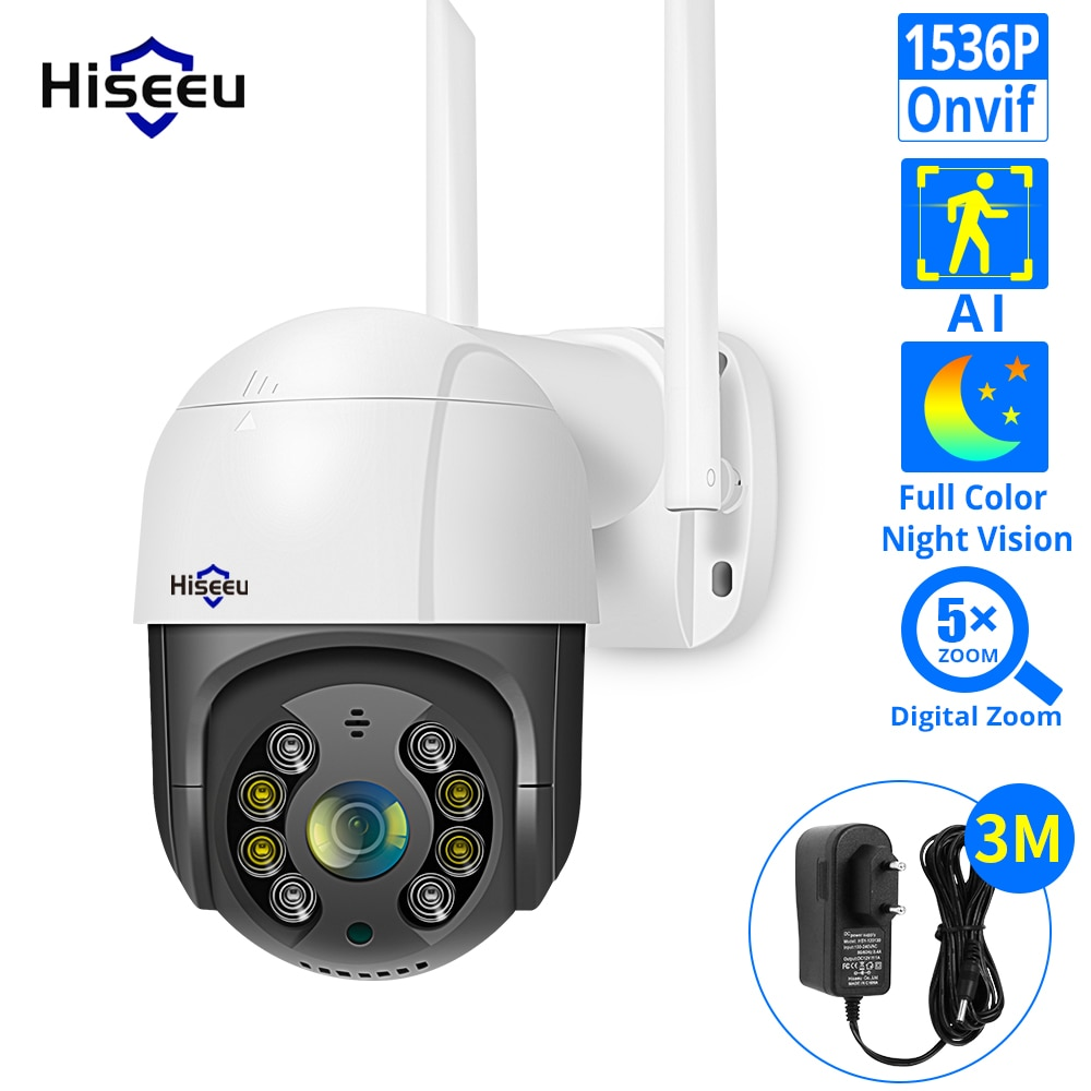 Hiseeu 1536P 1080P Speed Dome Wireless WIFI Camera 2MP 3MP Outdoor 5x Digital Zoom PTZ IP Camera Audio CCTV Surveillance Onvif