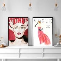 Affiche en toile moderne en Vogue  peinture de femme imprimee  illustration murale nordique  image Vintage modulaire pour salon