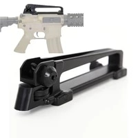 tactical detachable airsoft m4 m16 ar15 qd carry handle w dual aperture a2 rear iron sight see through picatinny rail mout