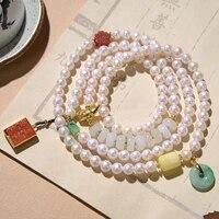 gold plated agate jade beeswax charm pearl beads bracelets retro plum double happiness bracelet women fine jewelry j0039