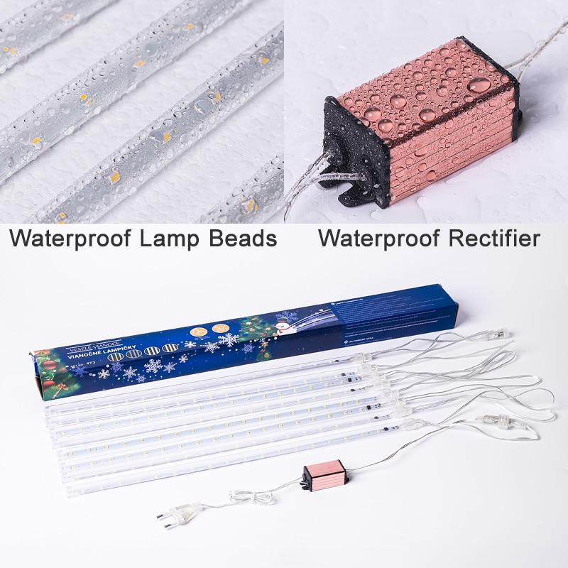 30 cm / 50 cm LED meteorni tuš venca praznični trak luč na prostem - Praznična razsvetljava - Fotografija 6