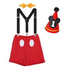 FREE SHIPPING 2020 Super Cute Micky First Birthday Smash Cake Outfit  New Bron Baby Funny Clothes 4p