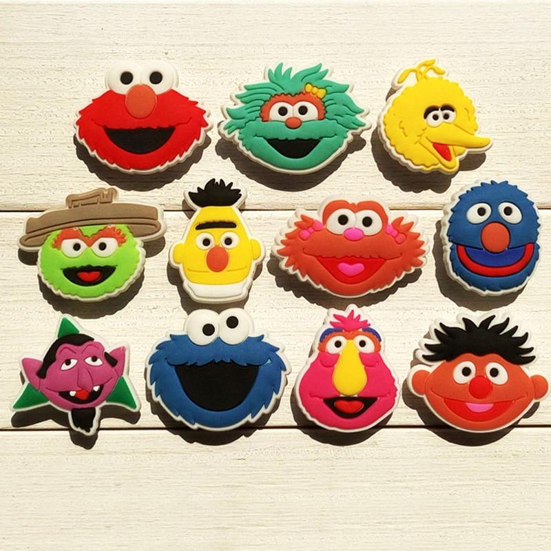1PCS Sesame Street Geschichte Heißer Cartoon PVC Schuh Charms Zubehör Fit für Schuhe Armbänder Bands Croc JIBZ Schuh Schnalle ormaments dekoriert