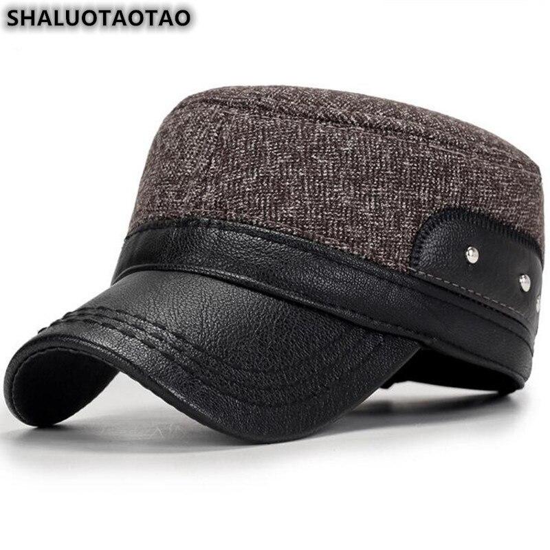 SHALUOTAOTAO gorra plana ajustable para hombre, orejeras térmicas de algodón de moda para invierno, gorros militares, gorros gruesos y cálidos para papá