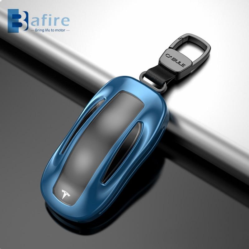 BAFIRE سبيكة بولي TPU سيارة حافظة مفتاح بعيد أغطية جلد ل تسلا نموذج 3 نموذج X الألومنيوم مفتاح قذيفة حقيبة التخزين حامي
