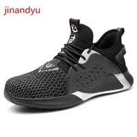 black work safety boots steel toe cap breathable anti smash anti piercing lightweight working shoes man safety sneakers men