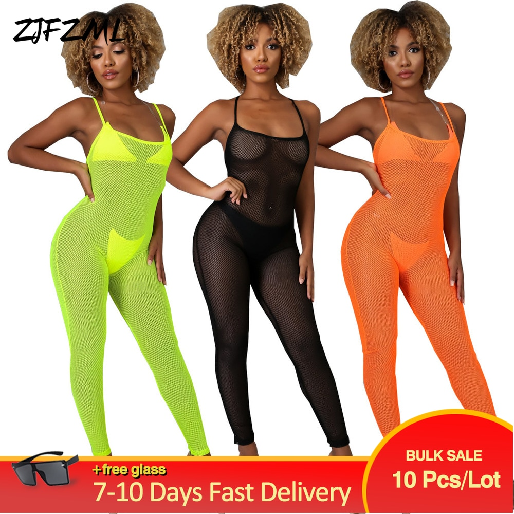 Bulk Items Wholesale Lots Neon Color Rompers Womens Jumpsuit Spaghetti Strap Summer Female Mesh Perspective One Piece Overalls