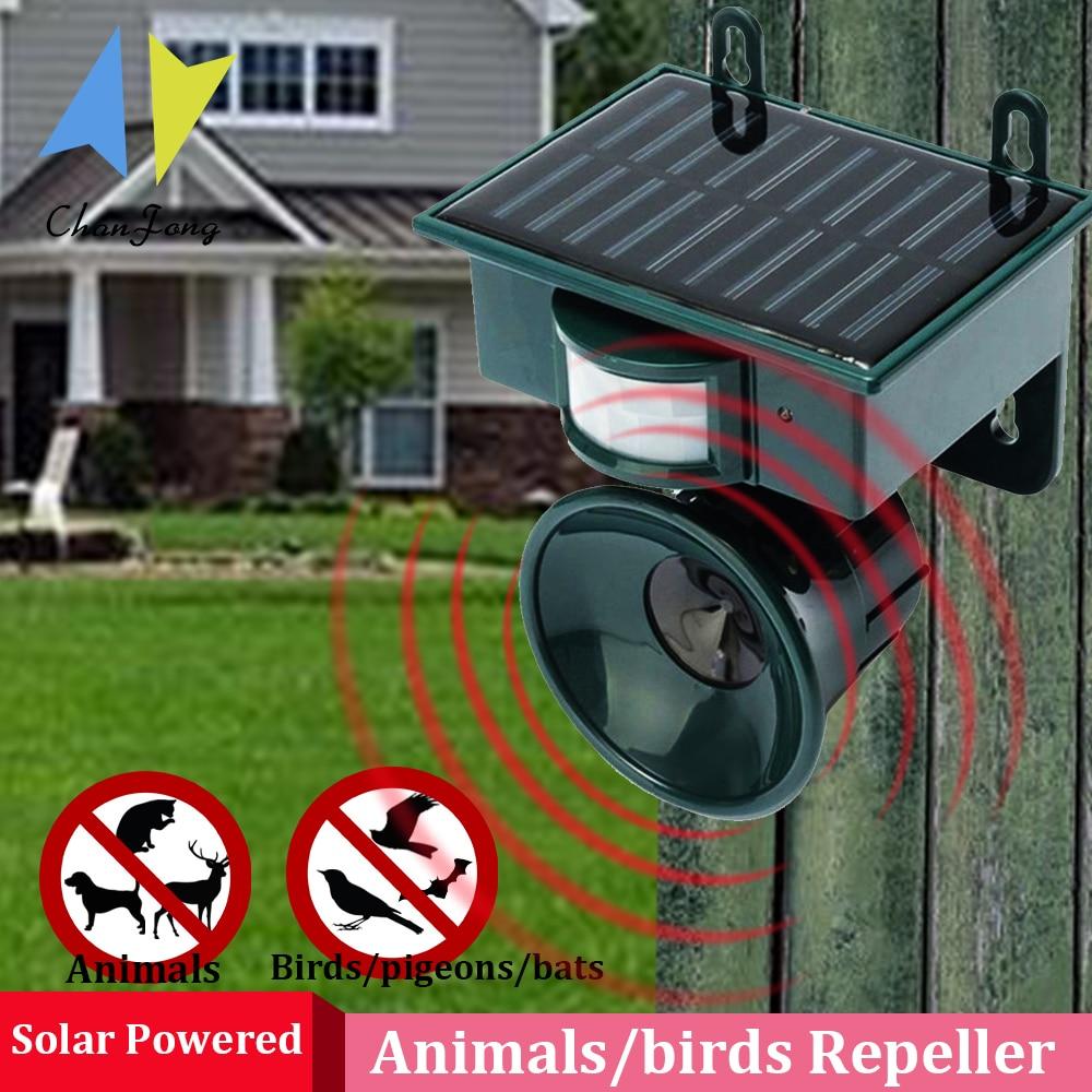 Güneş haşere kovucu kuşlar açık bahçe ultrasonik PIR hareket sensörü hayvan köpek kedi kuş kovucu caydırıcı Scarer kovucu
