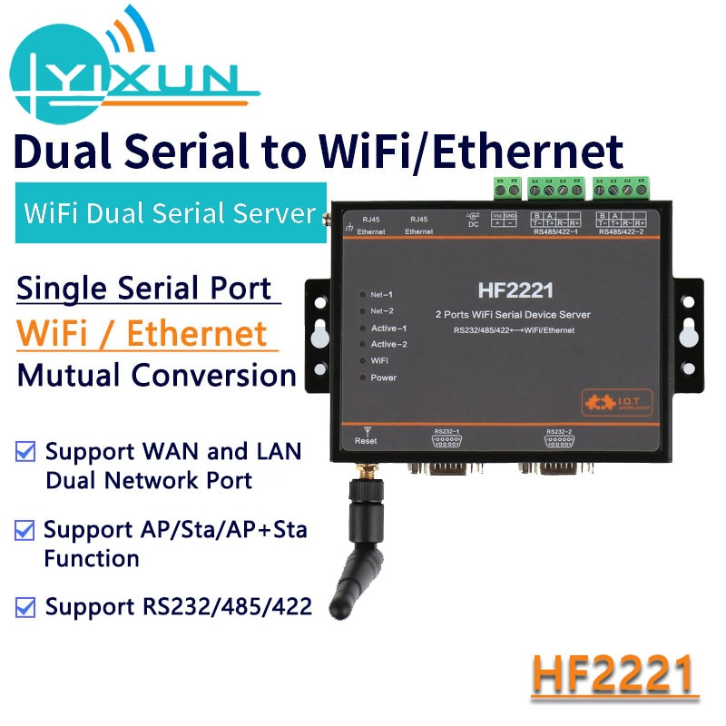 Servidor Dual serial WIFI HF2221 Modbus Industrial servidor Serial de 2 puertos RS232/RS485/RS422 a módulo de dispositivo Ethernet WiFi DTU