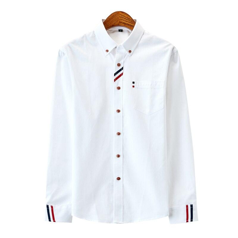 Camisa masculina de algodão 100% dos homens oxford camisas casuais outono manga longa magro ajuste masculino smoking vestido camisa plus size M-5XL