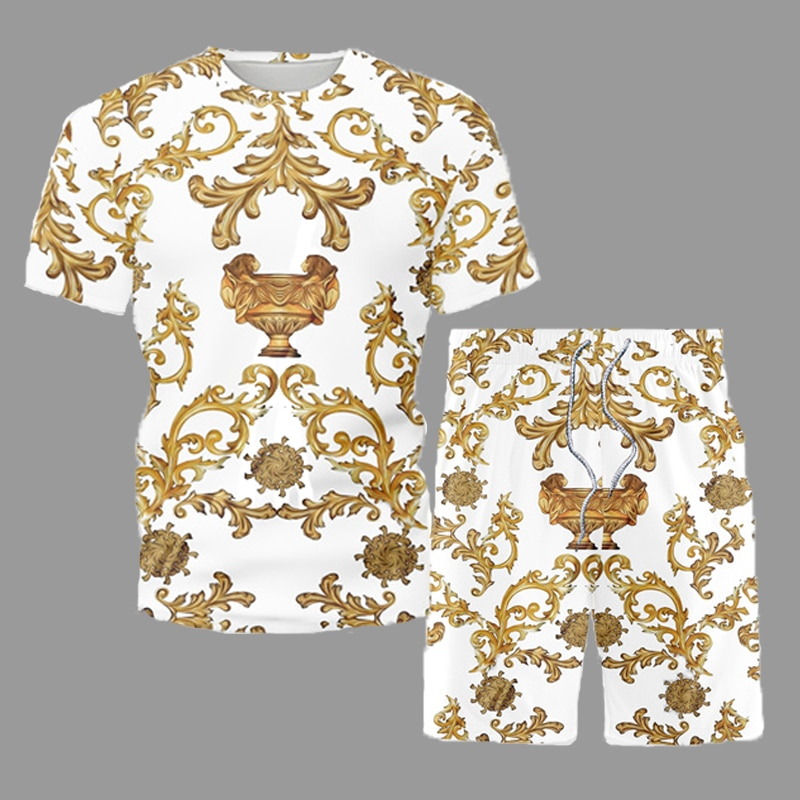 2021 Casual Outfit Retro Ethnic Style Men's Sets Summer Beach Short Sleeve Set Male Fashion O-Neck T-Shirt Shorts Suit Tracksuit