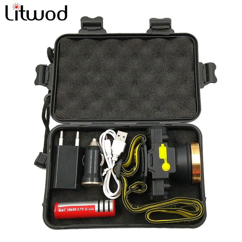 Litwod z209010 lanterna led de cabeça, com sensor ir, recarregável, lanterna, lâmpada para travesseiro