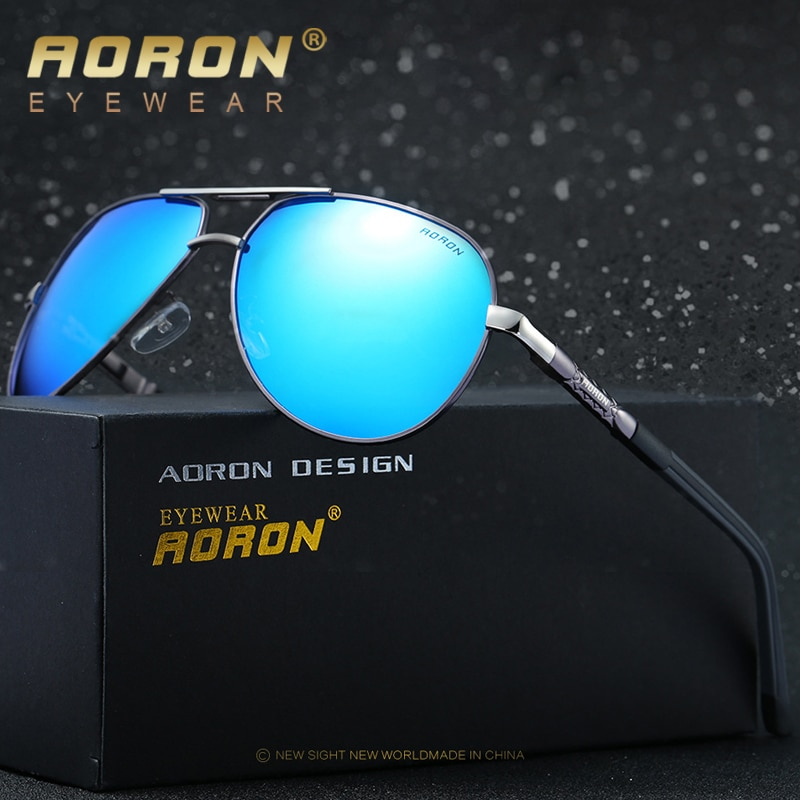 AORON Солнцезащитные очки Мужские поляризационные солнцезащитные очки с оправой из сплава UV400 Солнцезащитные очки Классические зеркальные очки для пилота ширина 150 мм